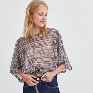 NWT's Zara Drawstring Striped Shirt Small S